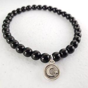 Black Crescent Moon Charm Bracelet